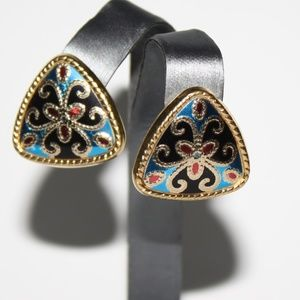 Vintage Cloisonne Style earrings